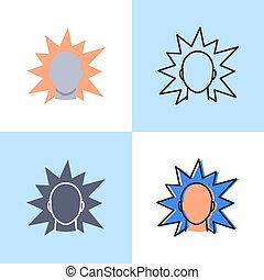Irritation concept icon set in flat and line style. Stress ...