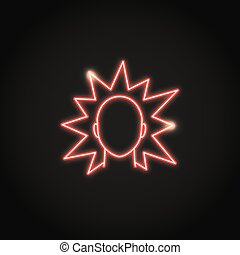 Irritation concept neon icon in line style. Shining emotion ...