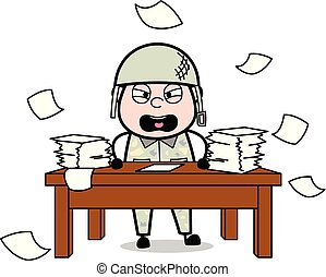 Irritation - Cute Army Man Cartoon Soldier Vector Illustration