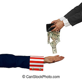 IRS - Uncle Sam\'s arm with palm up on white background
