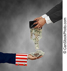Uncle Sam's arm with palm up on white background