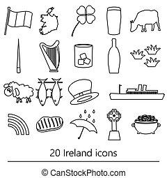 irsko, země, námět, symbol, nárys, ikona, dát, eps10