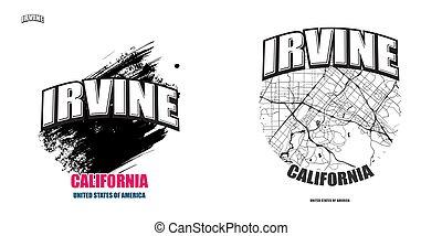 irvine, logo, gestaltungsarbeiten, kalifornien, zwei