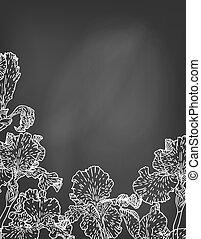 irys, ręka, chalkboard., pociągnięty, kwiaty, karta