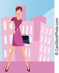 is a ilustracion of a businesswoman going to work ,available as a vector in adobe ilustrador EPS format, can be moved or edit individually. The document size is 220x297 mm.