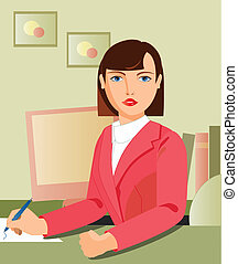 secretary working - is a ilustracion of a secretary working,