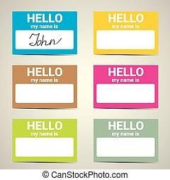 is..., etiqueta, nombre, mi, hola, set.