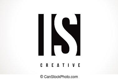 IS I S White Letter Logo Design with Black Square.