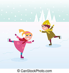 is skridskoåkning, liten pojke, och, flicka