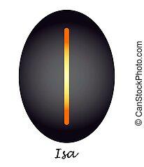 isa, gelb-orange, magisches, schwarz, runen, oval.