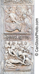 Isaac blesses Jacob by Ercole Seccadenari up and Burial of Jacob's wife by Amico Aspertini, left door of San Petronio Basilica in Bologna, Italy