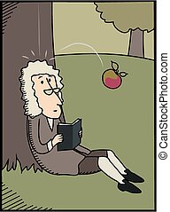 Isaac Newton and apple - Cartton style image of an apple...