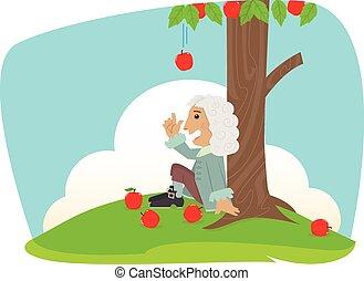 Isaac Newton - Cute Isaac Newton is sitting under an apple...
