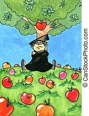 Isaac Newton sitting under an Apple tree. Illustration