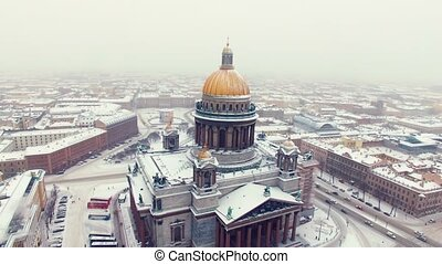 Isaac's cathedral in Saint-Petersburg aerial shot - Isaac's...