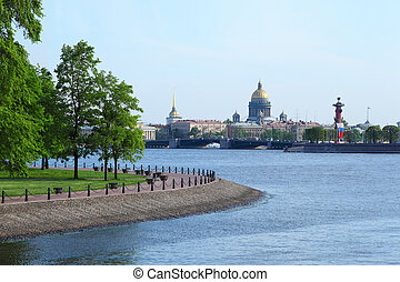 Isaac's Cathedral, Rostral Column and Palace Bridge drawbridge in Saint-Petersburg, Russia.