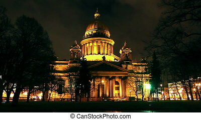isaakiy cathedral dome at night, Saint-petersburg, Russia -...
