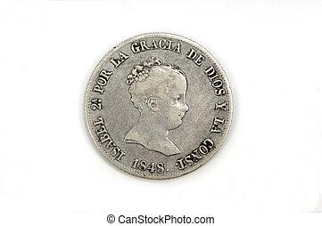 Isabel II 4 reales, silver , Spain