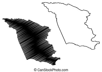 Isabela municipality (Commonwealth of Puerto Rico, Porto Rico, PR, Unincorporated territories of the United States) map vector illustration, scribble sketch Isabela map