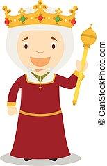 Isabella I of Castile (The Catholic) cartoon character....