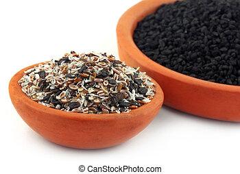 Isabgul, basil seeds and nigella - Medicinal herbs isabgul,...