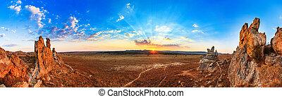 Isalo sunset panorama