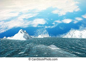 isberg, med, trevlig, sky