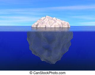 isberg, ovanför, och, nedanför, den, plan, av, ocean