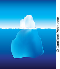 isberg, ovanför, och, nedanför, den, vatten