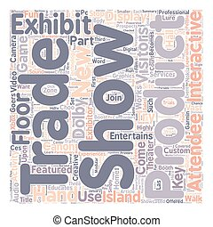 isca, conceito, attendees, mostrar, texto, exibições, comércio, wordcloud, fundo, mãos