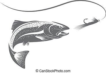 isca, peixe, vetorial, desenho, modelo, truta