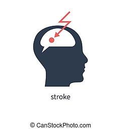 Ischemic stroke of brain icon. Vector illustration