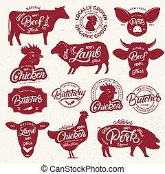 iscrizione, 13, poster., fattoria, macello, emblema, etichetta, parole, animali, logotipo