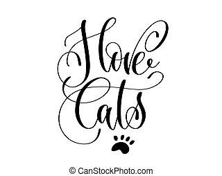 iscrizione, -, amore, gatti, mano
