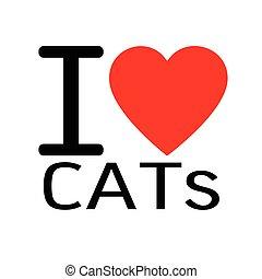 iscrizione, amore, illustrazione, segno, gatti, disegno