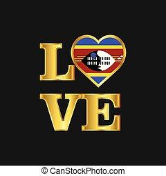 iscrizione, amore, oro, tipografia, bandiera, vettore, disegno, swaziland