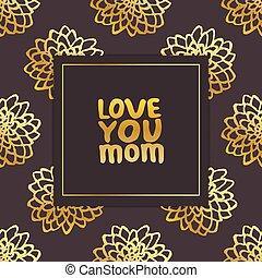 iscrizione, amore, testo, mano, chrysanthemums., mamma, lei, giorno, scheda, mother?s