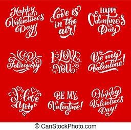 iscrizione, amore, valentina, vettore, cuori, giorno
