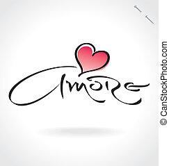 iscrizione, 'amore', (vector), mano