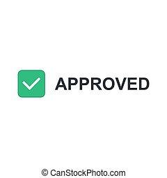 iscrizione, approvato, icona, segno spunta