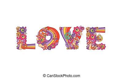 iscrizione, astratto, fiori, amore, colorito