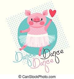 iscrizione, balletto, skirt., porcellino, ballo, dolce, illustrazione, dance., t-shirt, vettore, disegno, maiale, stampa