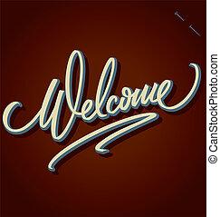 iscrizione, benvenuto, (vector), mano