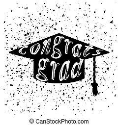 iscrizione, berretto, silhouette, graduazione