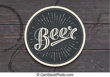 iscrizione, birra, sottobicchiere, disegnato, mano