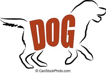 iscrizione, cane, illustrazione