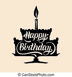 iscrizione, card., tipografia, festivo, manifesto, torta, compleanno, augurio, vettore, candle., mano, torta, uno, silhouette., felice