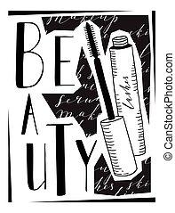 iscrizione, circa, parola, beauty., immagine, -, mascara.,...