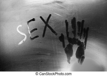 iscrizione, concetto, foto, sesso, bathroom., specchio.