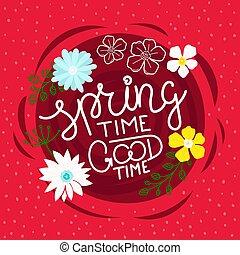 iscrizione, concetto, primavera, buon tempo, calligraphic, ...